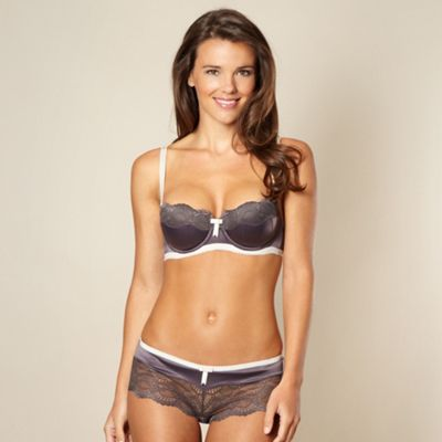 Dark grey lace panelled padded balcony bra