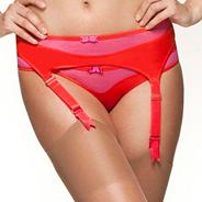 Pink 'Colour Clash' suspender belt