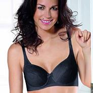 Black embroidered underwired cotton bra