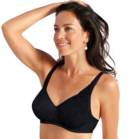 Playtex - Black embroidered non-wired cotton bra