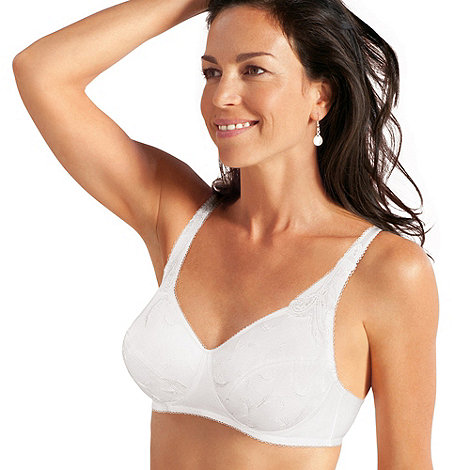 Playtex - White embroidered non-wired cotton bra
