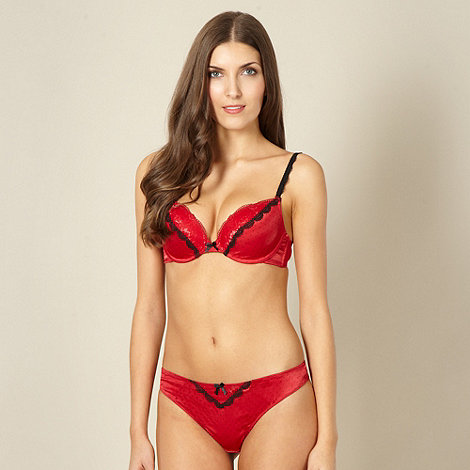 Ultimate - Red lace and polka dot push up plunge bra
