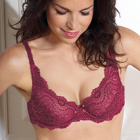 Playtex - Dark pink flower lace underwire bra
