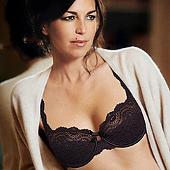Playtex - Black flower lace balcony bra
