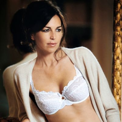 White flower lace balcony bra