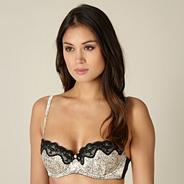 Cream floral lace push up balcony bra