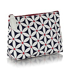 Victoria Green - Navy starflower print cosmetics bag