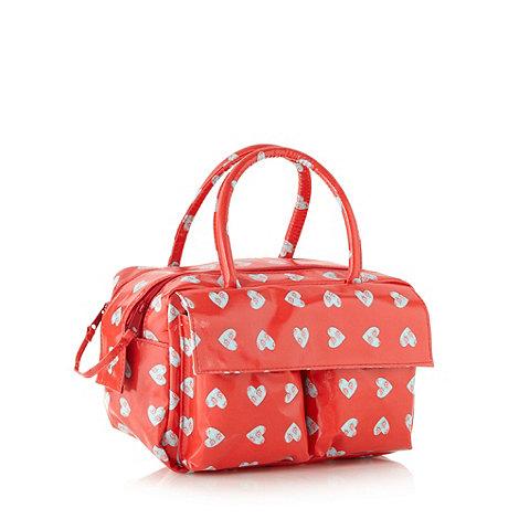 Debenhams - Red heart pattern weekender beauty bag