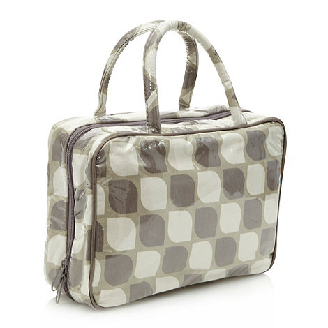 Debenhams - Grey leaf print rectangular toiletry bag
