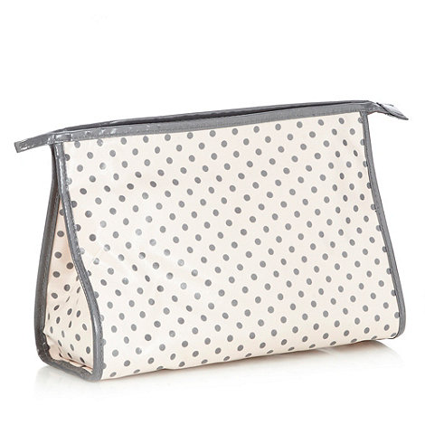 Debenhams - Pink & Grey Spot Classic Washbag