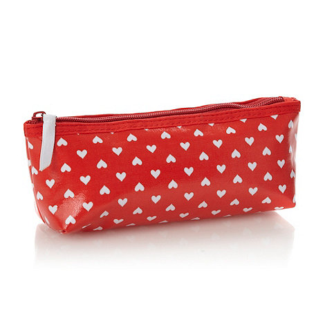 Debenhams - Red and white hearts cosmetics bag