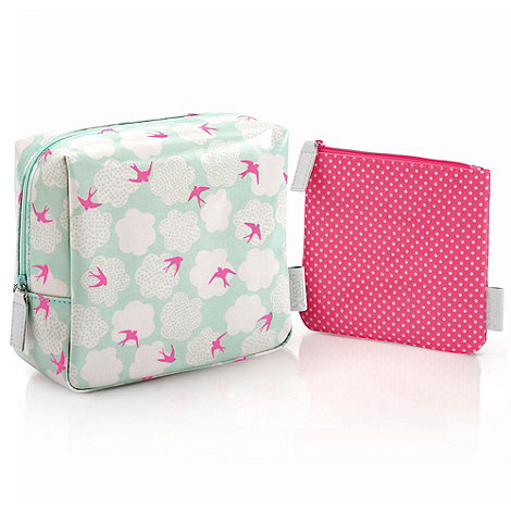 Victoria Green - Swallow and spot print toiletries bag duo set
