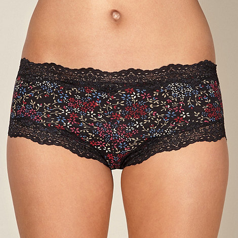 Debenhams - Black cotton floral lace shorts