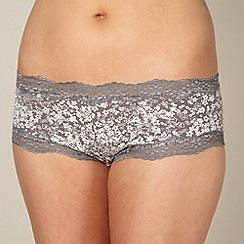 Debenhams - Grey cotton floral lace shorts
