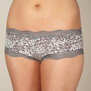 Grey floral lace shorts