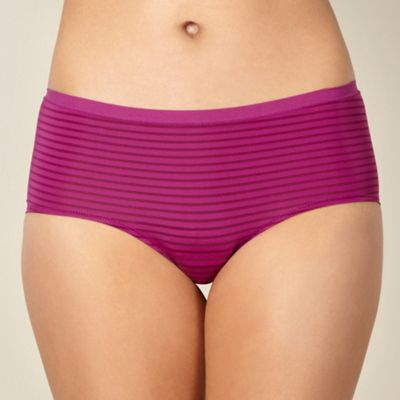 Bright purple microfibre striped shorts