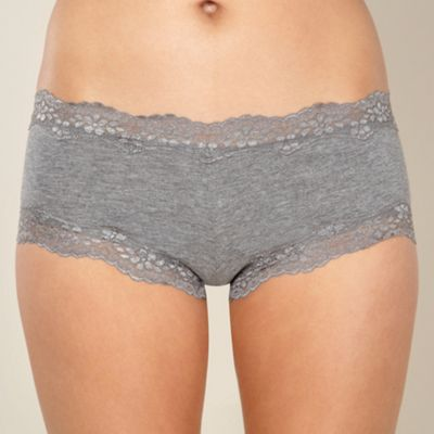 Grey lace trimmed shorts