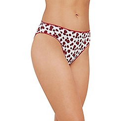 The Collection - 5 pack red poppy print cotton blend high leg knickers