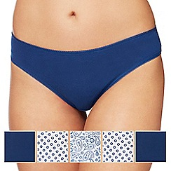 The Collection - 5 pack navy plain and paisley print bikini knickers