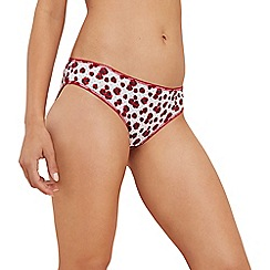 The Collection - 5 pack red poppy print cotton blend bikini knickers