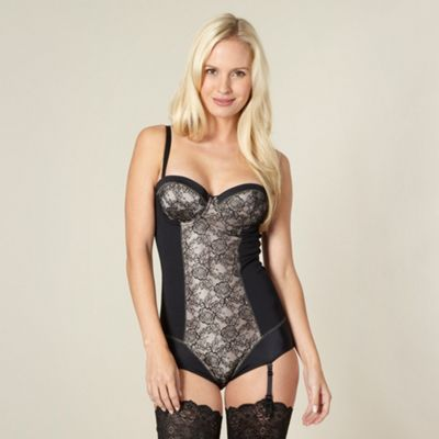 Black glamour rose lace body shaper
