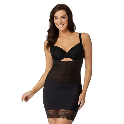 Black lace trim medium control shaping dress slip