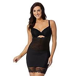 Debenhams - Black lace trim medium control shaping dress slip