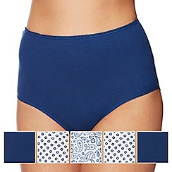 The Collection - 5 pack navy plain and paisley print full brief knickers