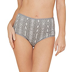 The Collection - 5 pack black and grey plain and snakeskin print full brief knickers