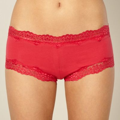 Red lace trimmed shorts