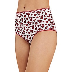 The Collection - 5 pack red poppy print cotton blend full brief knickers