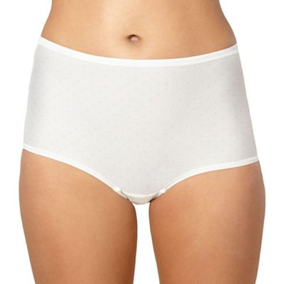 Cream spotted microfibre invisible full briefs