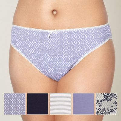 Pack of five blue high leg briefs