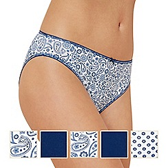 The Collection - 5 pack navy plain and paisley print high leg knickers