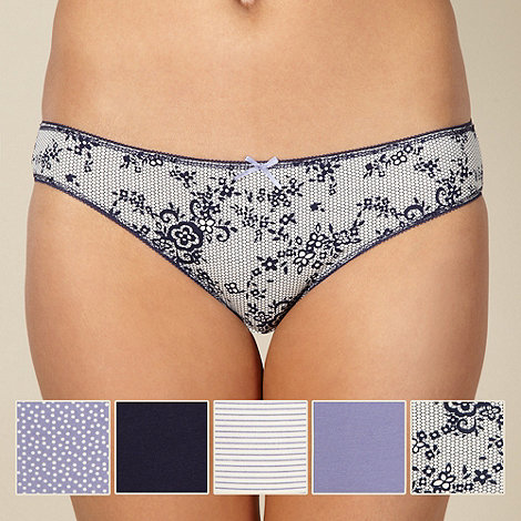 Debenhams - Pack of five blue lace print bikini briefs