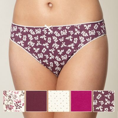 Pack of five purple leaf high leg briefs