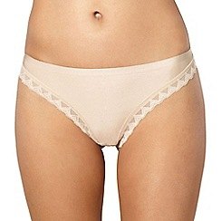 Debenhams - Beige invisible lace trim thong