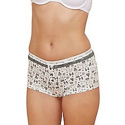 The Collection - Ivory polar bear print lace cotton blend shorts