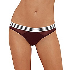 The Collection - Wine red stripe trim cotton blend thong