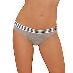 The Collection - Grey stripe trim cotton blend thong