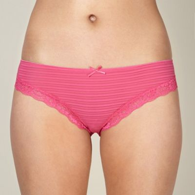 Dark pink spotted lace brazilian briefs