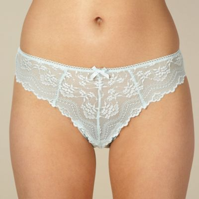 Light turquoise lace hi leg briefs