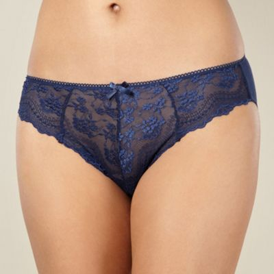 Navy lace front high leg briefs