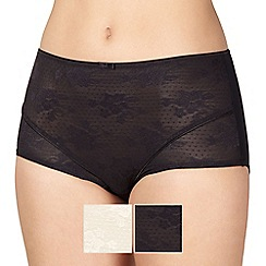 Debenhams - Pack of two natural and black hi leg shaping briefs
