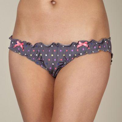 Dark grey spotted microfibre bikini briefs