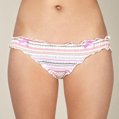 Lilac striped microfibre bikini briefs