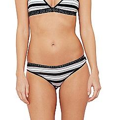 Bonds - Black stripe print cotton blend bikini knickers