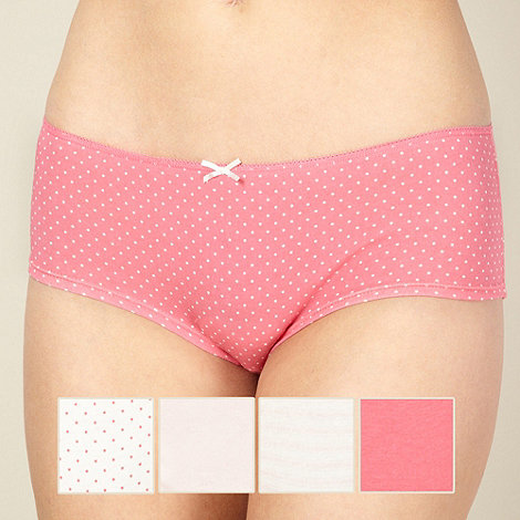Debenhams - Pack of five cotton pink short briefs
