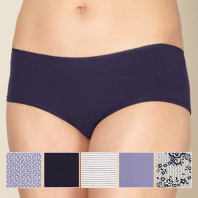 Pack of five purple spotted shorts