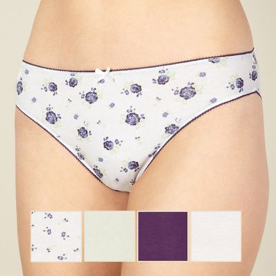 Pack of five purple floral print high leg briefs